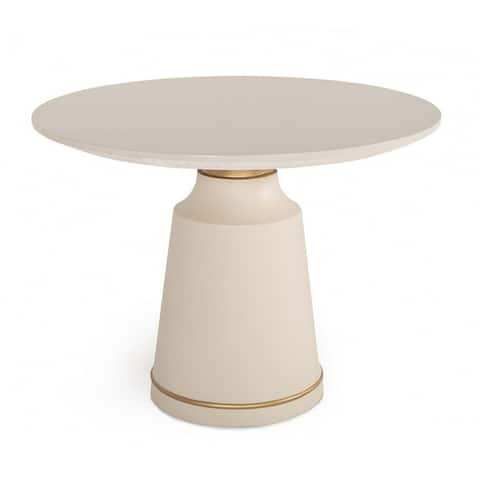 Concrete Coffee Table with Round Base and Molded Details, Off White