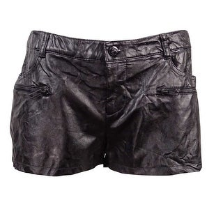 Guess Women's Solid Mini Faux Leather Shorts - 6