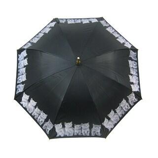 48 Inch Grey Kitten Bamboo Stick Umbrella