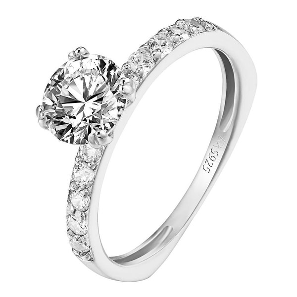 Womens Solitaire Round Brilliant Cut Ring Sterling Silver Cubic Zirconia Wedding