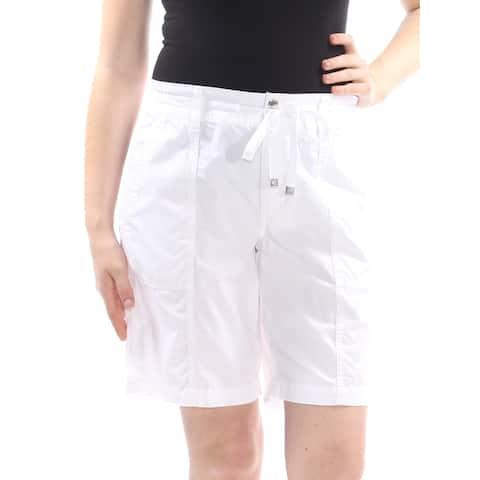 RALPH LAUREN Womens White Pocketed Tie Dual Button Bermuda Short Size: 16