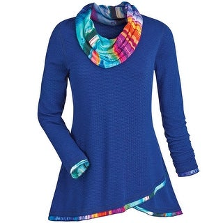 Women's Tunic Top - Regal Blue Long Sleeve Cowl Neck Shirt