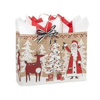 "Pack of 250, Vogue Woodland Santa Kraft Paper Bags 16 x 6 x 12"" For Christmas Packaging, 100% Recyclable,"