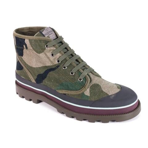 Valentino Men's Green Grey Camouflage Canvas Desert Boots