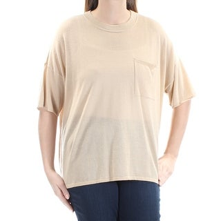 RALPH LAUREN $245 Womens New 1209 Beige Pocketed Jewel Neck 3/4 Sleeve Top L B+B