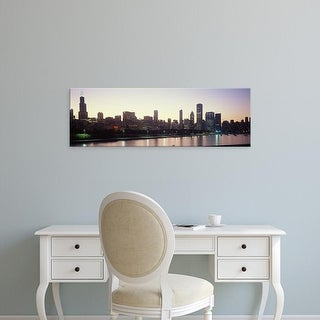 Easy Art Prints Panoramic Images's 'City skyline with Lake Michigan and Lake Shore Drive, Chicago, Illinois' Canvas Art