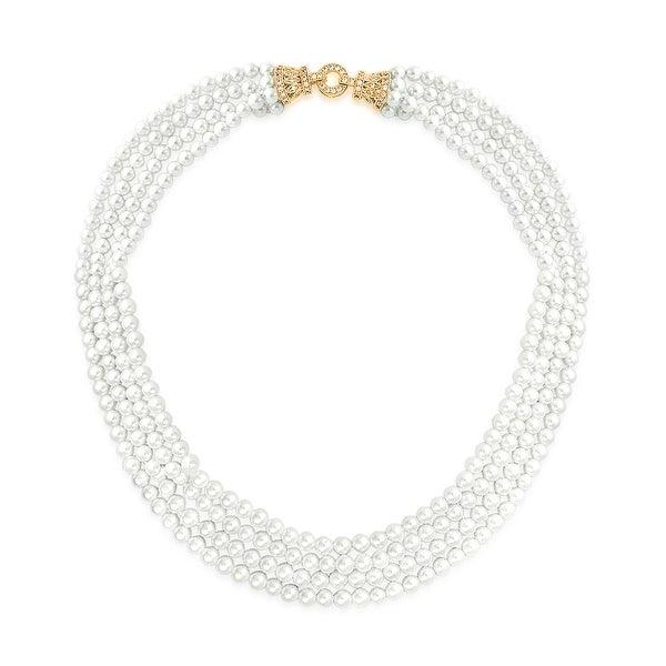 b5af0058101fc Shop Deco Style CZ Bridal Multi Strand Necklace For Women Collar ...