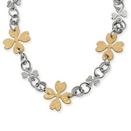 Chisel Stainless Steel Gold IP Plated Flower Link Necklace (24 mm) - 23 in