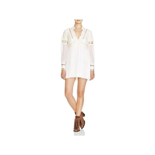 Free People Womens Dreamland Mini Dress Mixed Media Lace Inset