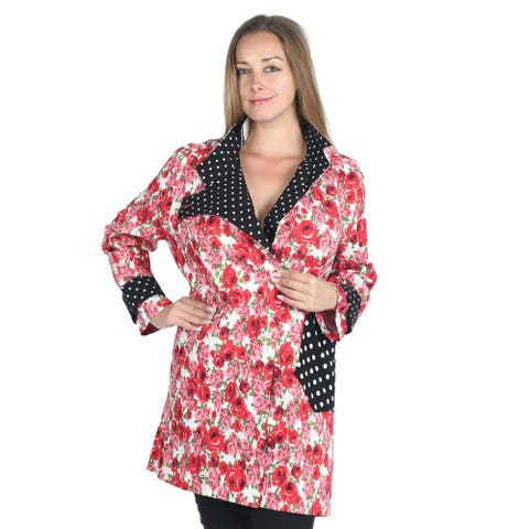 JOVIE Rose Polka Dot Printed Asymmetrical Jacket with Stand Collar M