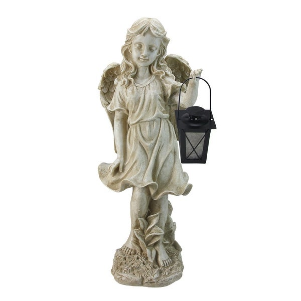 """21"""" Ivory Standing Angel With Tealight Candle Lantern Outdoor Garden Patio Statue - N/A"""