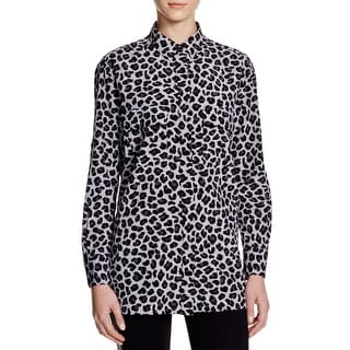 DKNY Womens Button-Down Top Silk Animal Print