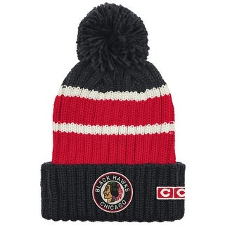 Chicago Blackhawks Watch Cap Striped Cuffed Knit Hat with Poms