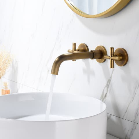 Global Pronex Widespread Two-Handle Bathroom Sink Faucet, 360-Degree Rotating Water Countertop Bathroom Water-Saving