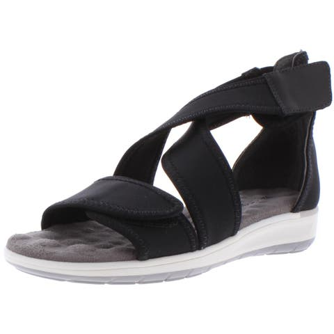 Walking Cradles Womens Stardust Wedges Strappy Casual - Black
