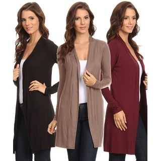 3 Pack Women's Long Cardigan Open Front Small to 3XL Made in USA: BLACK/MOCHA/BURGUNDY