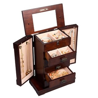 Costway Armoire Jewelry Cabinet Box Storage Chest Stand Organizer Necklace Wood