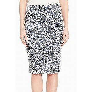Halogen Blue White Floral Lace 00P Petite Straight Pencil Skirt