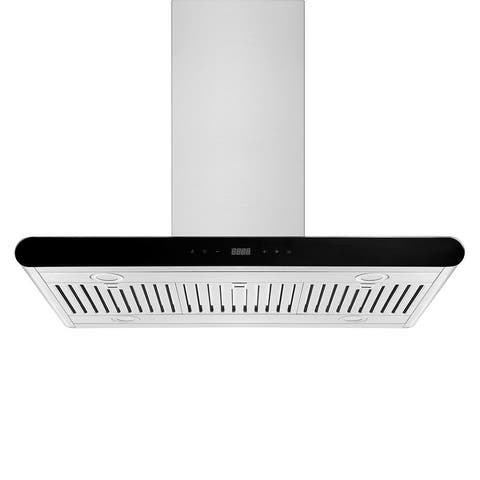 """36"""" Ducted and Ductless Island Range Hood - Exhaust Kitchen Vent - Dishwasher Safe Stainless Steel Filter - Soft Touch Controls"""