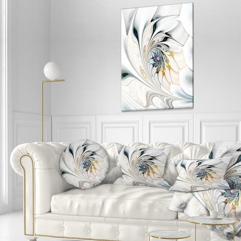 White Stained Glass Large Floral Wall Art Canvas