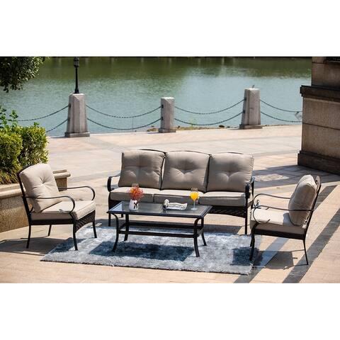 Moda Bravo 4-Piece Steel Outdoor Garden Sofa Set Furniture 2023