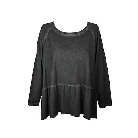 Style & Co Plus Size Black High-Low Hem Ruffled Sweatshirt 0X