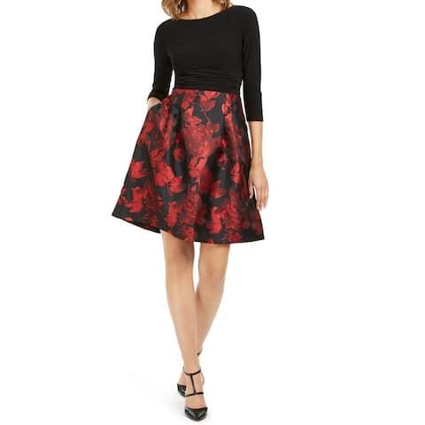 Jessica Howard Womens Dress Black Size 10 Sheath Pleated Jacquard
