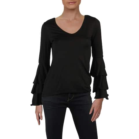 Red Haute Womens Top Tiered Long Sleeve - Black - XS