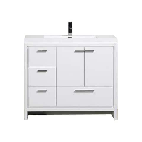 Alma-Allier 42 inch Free Standing Vanity with Integrated Sink