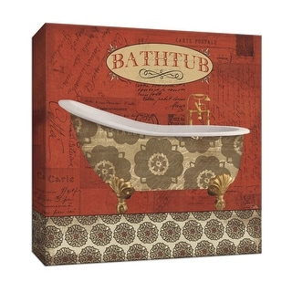 """PTM Images 9-152052  PTM Canvas Collection 12"""" x 12"""" - """"Postcard Bath III"""" Giclee Tubs Art Print on Canvas"""