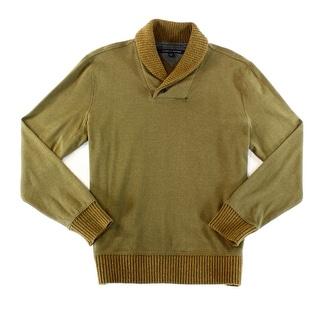 Tommy Hilfiger NEW Brown Men Large L Herringbone Shawl Collar Sweater