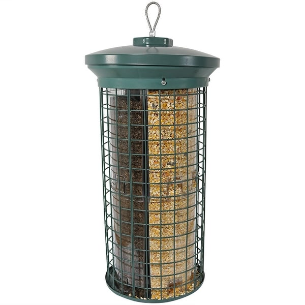 Sunnydaze Green Triple Tube Bird Feeder