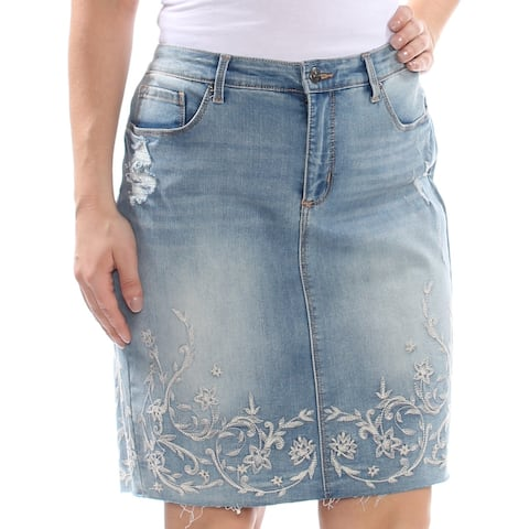 VINTAGE AMERICA Womens Light Blue Embroidered Denim Above The Knee Skirt Size: 12