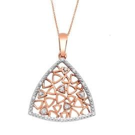 10K Rose Gold Diamond Pendant and Necklace Set 0.06cttw Honeycomb