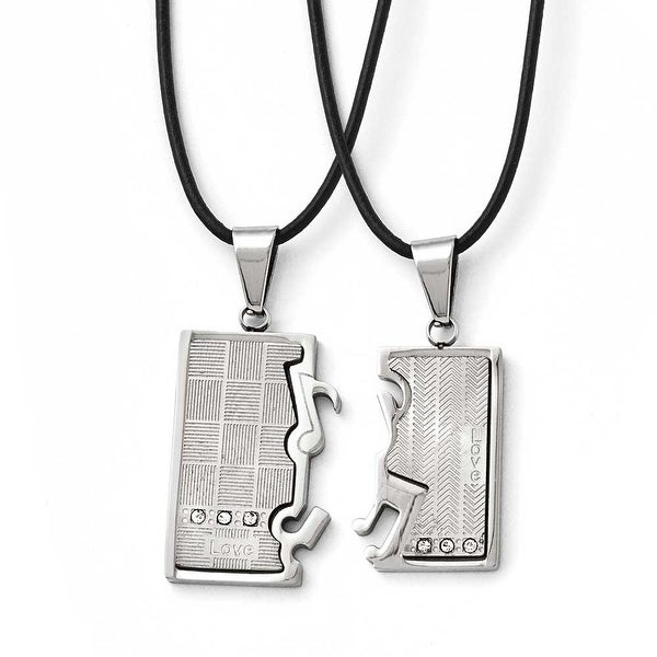 Chisel Stainless Steel Polished/Brushed CZ Love Music Halves Necklace Set