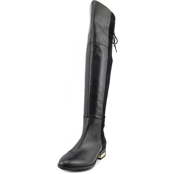 Guess Zoe Women Round Toe Leather Black Over the Knee Boot