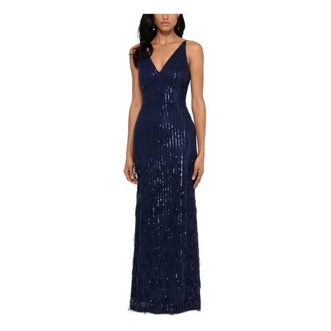 XSCAPE Navy Sleeveless Full-Length Dress 6