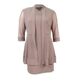 R&M Richards Women's Petite Metallic-Trim Shift Dress and Jacket