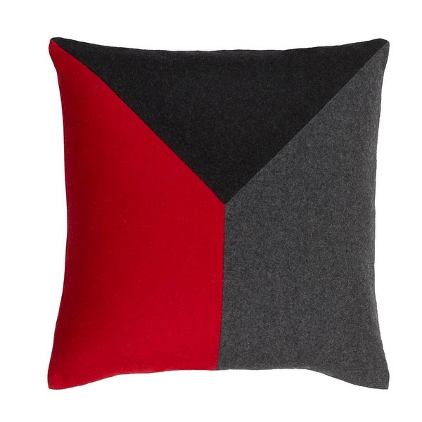 "18"" Ladybug Red and Pewter Gray Geometric Decorative Throw Pillow"