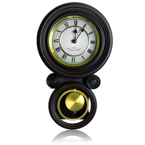 Bedford Clock Collection Decorative Round Wall Clock with Pendulum