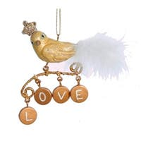 "4"" Gold Bird with Dangling Inspirational ""Love"" Charms Christmas Ornament"