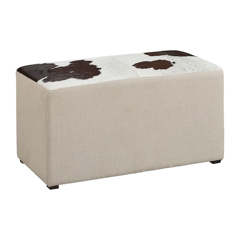 Round Rock Hair on Hide Leather & Linen Ottoman, 35-inch Width