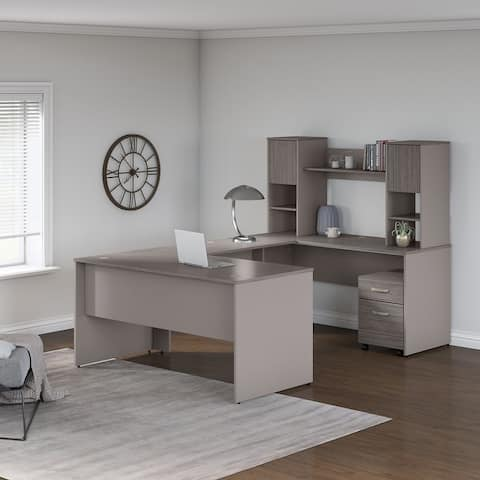 Commerce 60W U Shaped Desk with Hutch and Drawers by Bush Furniture