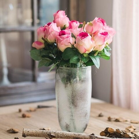 """G Home Collection Rustic Silk Rose Bloom Bush in Pink and Pink White 16"""" Tall"""