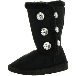 Static Girls Fashion Microsuede 9 Winter Boots With Jewel Ornament And Faux Fur""