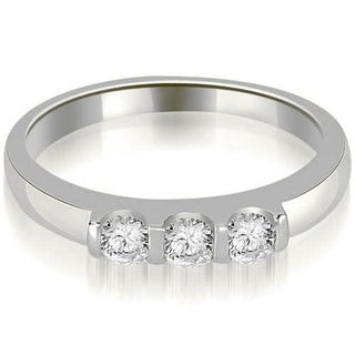 0 45 CT 3 Stone Bar Set Diamond Stackable Wedding Band In 14KT Gold White H I