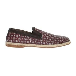 Dolce & Gabbana Dolce & Gabbana Bordeaux Leather Bird Pattern Loafers