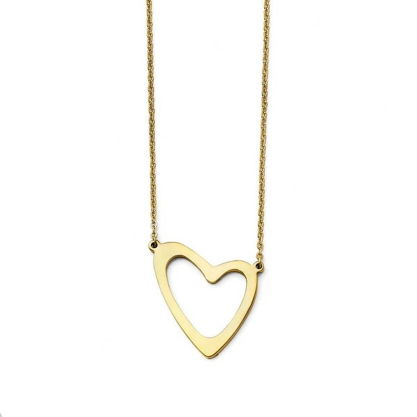Chisel Stainless Steel Yellow IP-plated Polished with 2in ext. Necklace (1 mm) - 17 in