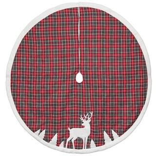 "48"" Plaid Tree Skirt DEER APPLIQUE - RED"