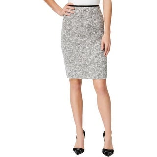 Calvin Klein Womens Pencil Skirt Tweed Faux Leather Trim